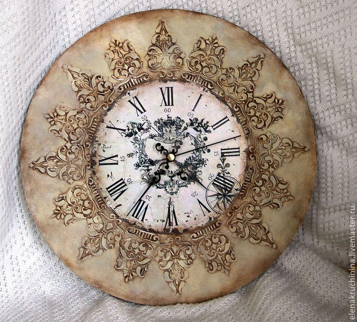 Винтажные часы - серый,настенные часы,часы для дома,часы интерьерные,часы декупаж