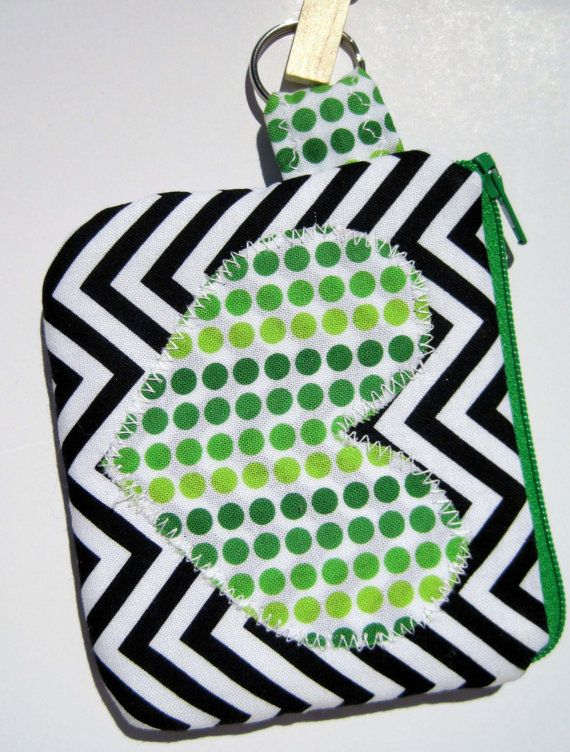 Chevron with Green Dotted Heart KeyChain by artsyanthropology, $13.50