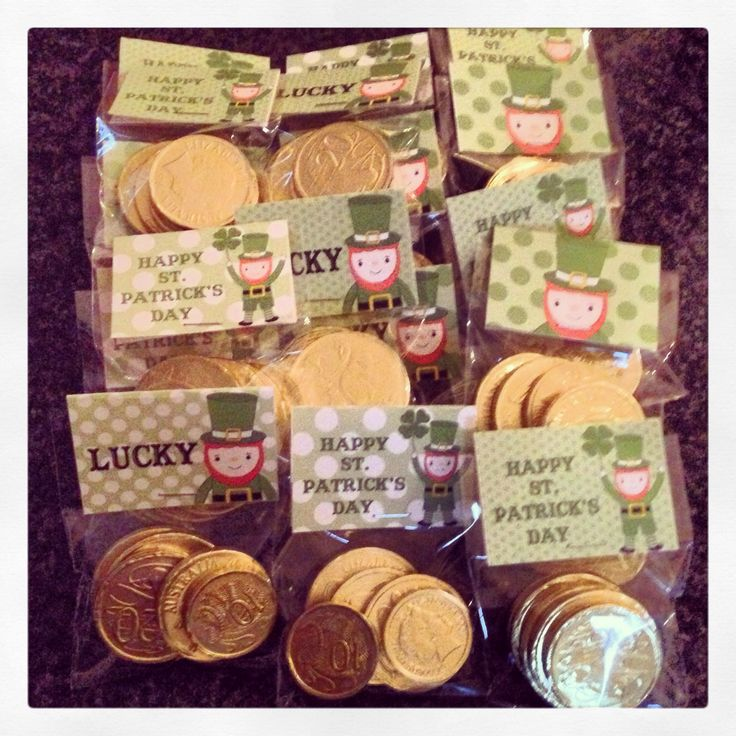 St Patricks Day Class Gifts Cute printables with chocolate coins. (2014)