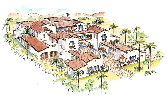 Spanish style courtyard homes welcome for Castle house plans with courtyard
