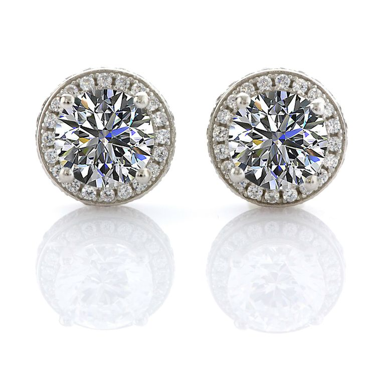 Halo Round CZ Earrings