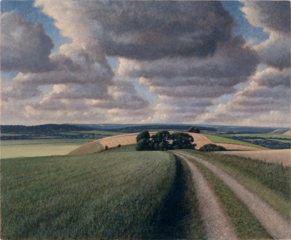 james lynch (b. 1956) - cloud street; egg tempera on gesso coated wood panel.