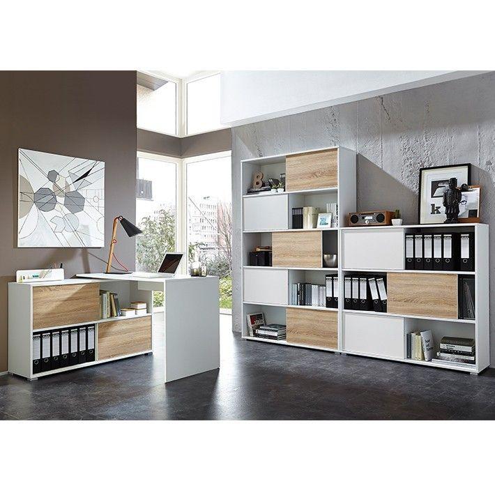 Armoire De Bureau Blanche Basse Design Bois Avec Portes Coulissantes Meuble Rangement Bureau Armoire Bureau Bureau Design Bois