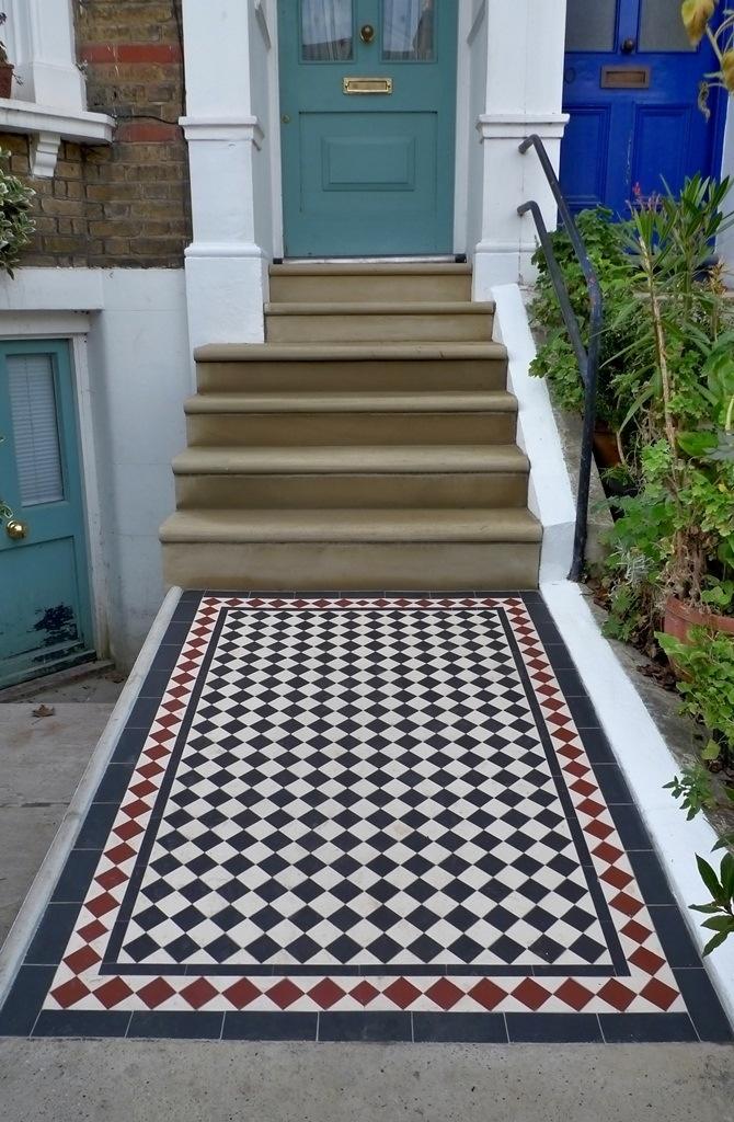 Victorian mosaic tiles in front garden