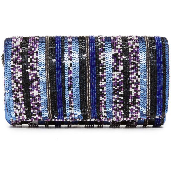 Santi Stripe Bead Clutch (408490 PYG) ❤ liked on Polyvore featuring bags, handbags, clutches, fold-over clutches, fold over handbag, santi clutches, chain strap purse and sequin handbags