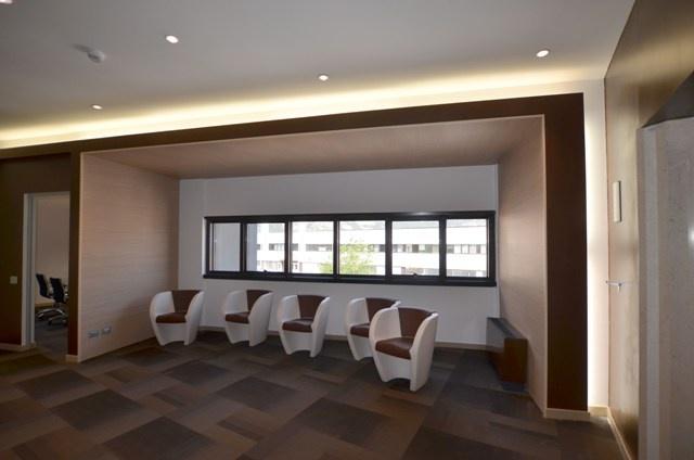 Wall cladding made of Topakustik staves. Upper lighting of led light.