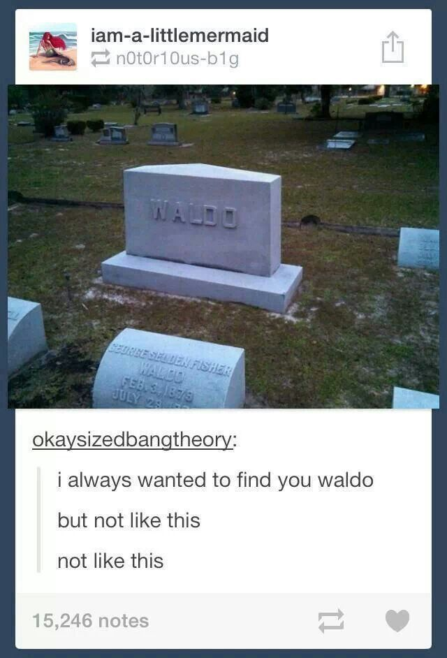 Where's Waldo. I found him. No!!!!!!! Not like this!!!!!! He's dead!!!!! All this time he's been dead!!!!