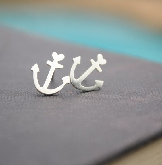 anchor earrings anchor studs anchor stud earrings by LolaAndCash, $36.00....exactly what my tattoo looks like !