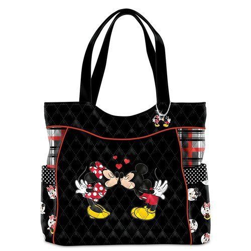 Minnie Mouse And Mickey Mouse Kissing >> Disney Discovery- Mickey and Minnie Love Story Quilted Tote Bag | Disney Handbags | Pinterest ...