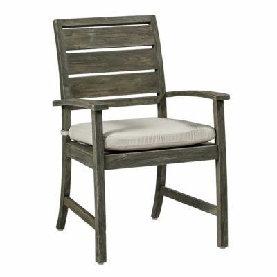 Summer Classics Charleston Patio Dining Chair with Cushion Frame Color: Weathered Teak, Cushion Color: Whisper Smoke