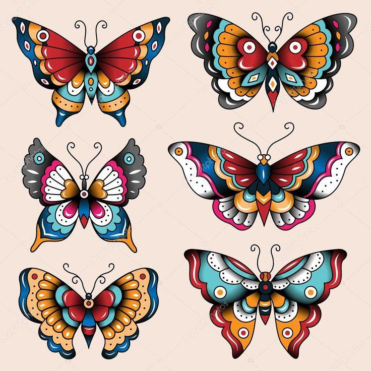 Conjunto de borboletas de arte tatuagem escola de design e decoração