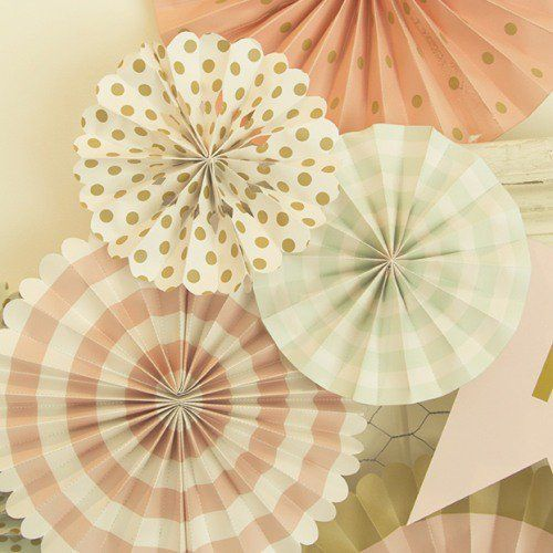 Vintage inspired paper pinwheels decorations are perfect for a french bebe shower