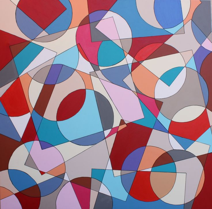 CIRCLE AND SQUARE NR 1. 150  X  150 CM AKRYL