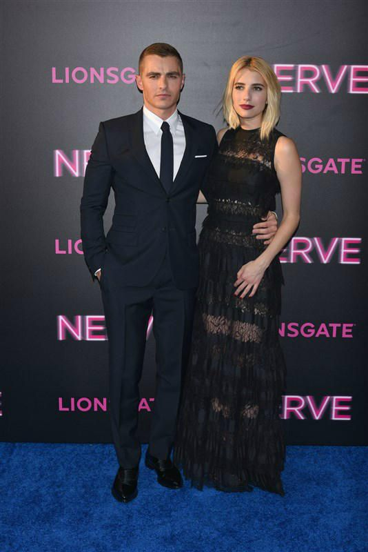 """Dave Franco and Emma Roberts attend the """"Nerve"""" film premiere in New York on July 12, 2016"""