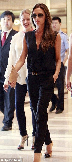 Simply sublime: The mother-of-four looked amazing in her own designed Victoria Beckham outfit #workwear