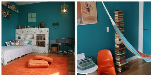 Peacock blue and Orange! My favorite color combo.  The peacock blue walls in this space really set the scene for something special. Somehow the bright colours don't look cartoonish, and this hip bedroom will grow up with the lucky child who lives in it.