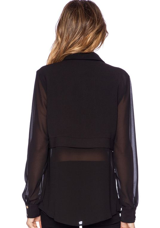 Buy Contrast Sheer Chiffon Blouse from abaday.com, FREE shipping Worldwide - Fashion Clothing, Latest Street Fashion At Abaday.com