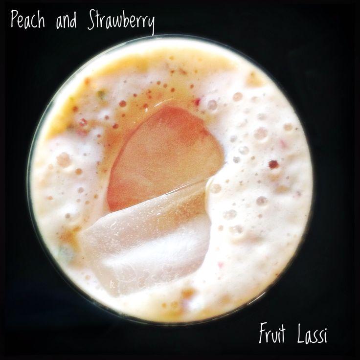 Peach and Strawberry Lassi