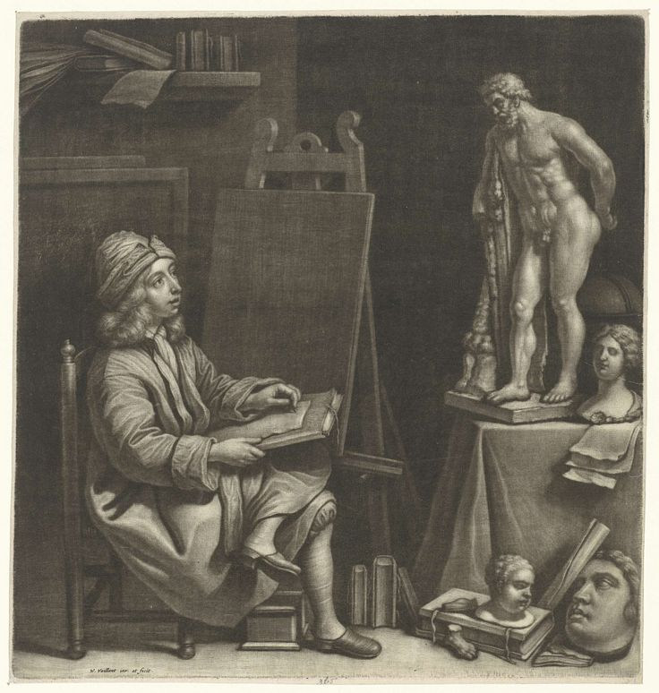 Wallerant Vaillant | Tekenende jongen, Wallerant Vaillant, 1658 - 1677 | In een atelier tekent een jongen naar een sculptuur van Hercules. Om hem heen staan een schildersezel, een globe, boeken en modellen van gips.