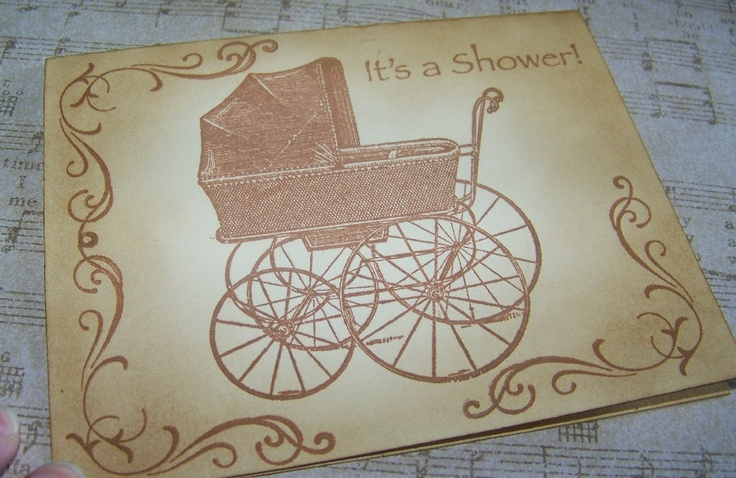 Baby Shower Invitations Vintage Carriage Set of 5 Cards. $12.50, via Etsy.
