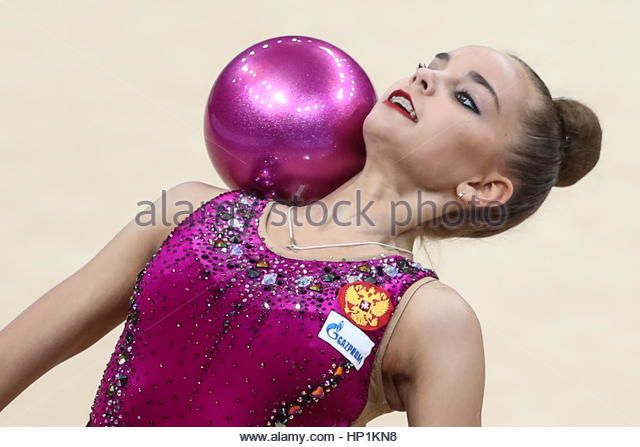 Moscow, Russia. 17th Feb, 2017. Rhythmic gymnast Dina Averina of Russia performs her individual ball routine during - Stock Image