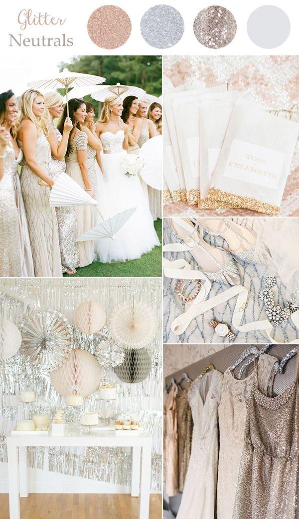 Los #colores neutrales no tienen que ser aburridos, con un poco de efecto glitter tendrás un ambiente lleno de #glamour. #Wedding #Trends #Colors