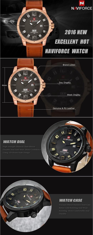 NAVIFORCE 9061 Fashion Military Quartz Men Watch Leather Strap Sport Wrist Watch