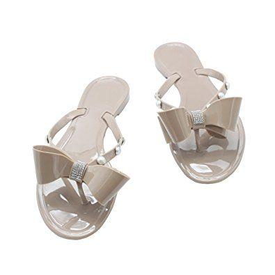 Kontai Women Jelly Sandal Summer Ribbon Bow Diamond Flip Flop Thong Flat Sandals Slipper Shoes Review