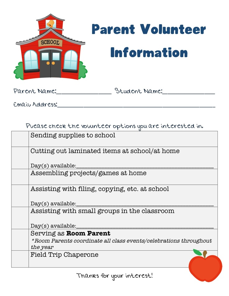 Best 25+ Parent volunteer form ideas on Pinterest Parent - admission form format for school