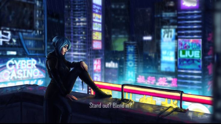 Dex cyberpunk game art with city billboards
