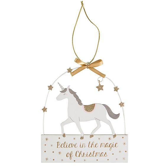 Unicorn Plaque Hanging Christmas Decoration