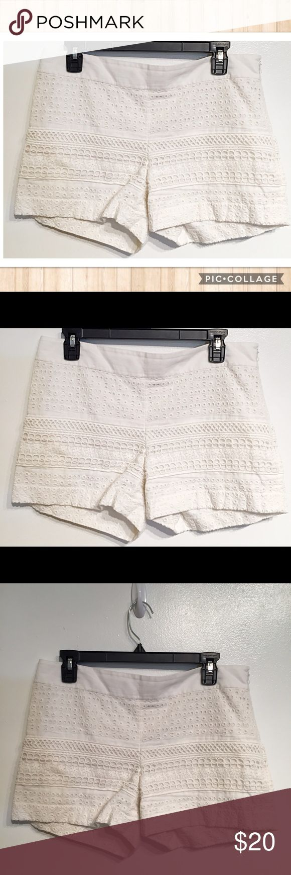 """Ann Taylor LOFT """"The Riviera"""" White Eyelet Shorts Ann Taylor LOFT """"the riviera"""" White Eyelet shorts. Zip up the side. Size 6. Measures 17"""" flat at waist and just under 4"""" inseam. No modeling. Smoke free home. I do discount bundles. LOFT Shorts"""