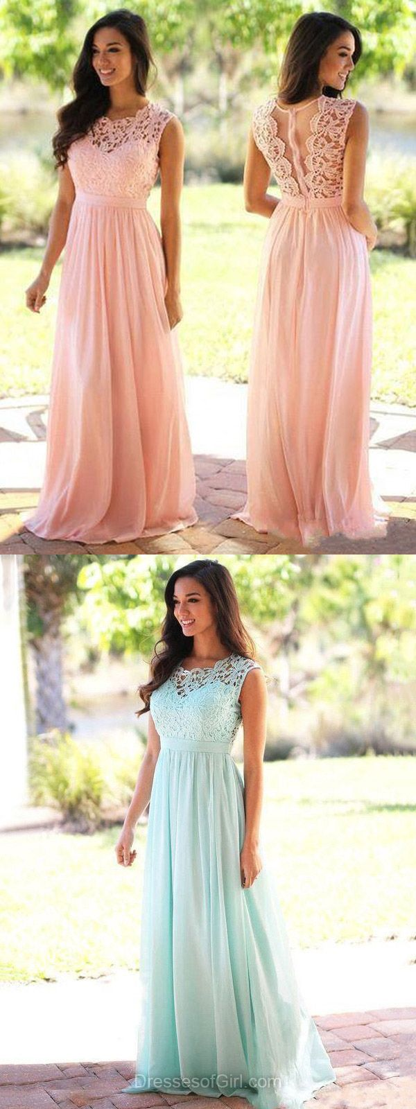 Affordable Long Prom Dresses, A-line Scoop Neck Formal Evening Gowns, Lace Chiffon Women Party Dress