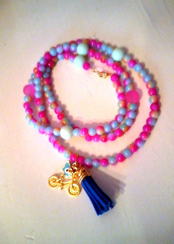 New Long fucshia tone charm necklace by KaterinakiJewelry on Etsy