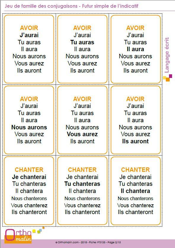 Jeu De Famille Des Conjugaisons Futur Simple De L Indicatif Conjugaison Conditionnel Present Futur Simple