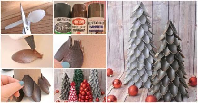 Pohon Natal dari Sendok Plastik