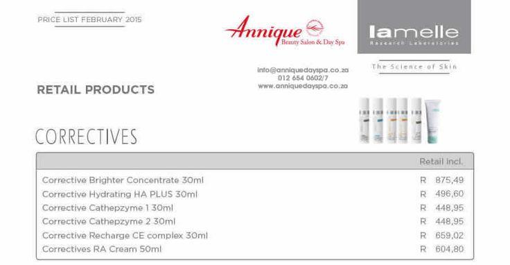 Lamelle Correctives Range Get your Lamelle products at Annique Day Spa  info@anniquedayspa.co.za 012 654 0602/7 www.anniquedayspa.co.za