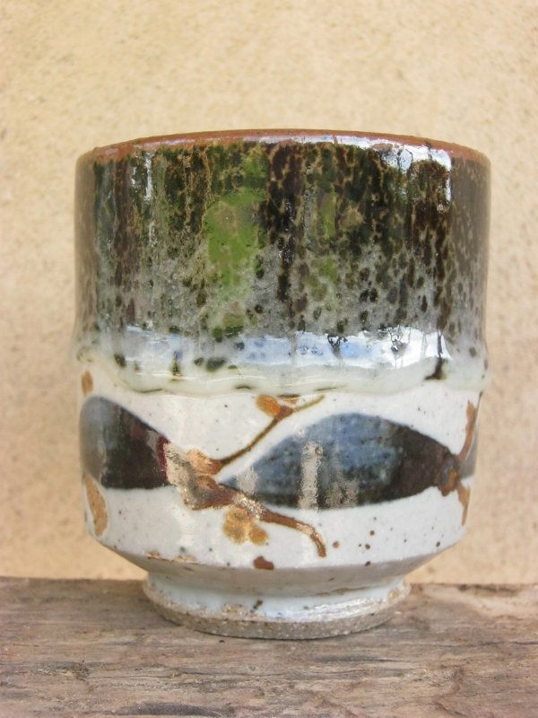 Tea Bowl  - Tenmoku and white glaze with cobalt, rutile and iron oxide decoration