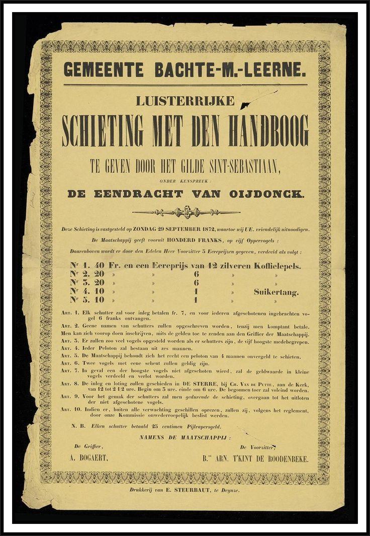 Affiche 'Gemeente Bachte-Maria-Leerne, 1872, Luisterrijke schieting met den handboog te geven door het gilde Sint Sebastiaan,...', Museum van Deinze en de Leiestreek (54.5 x 36 cm)