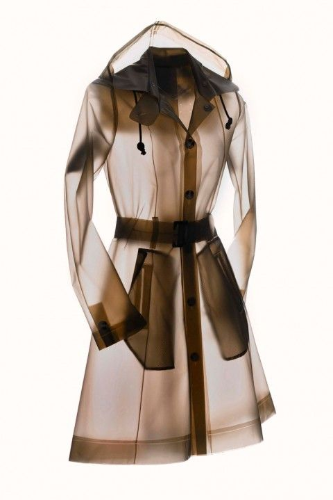 Transparent PVC raincoat / trench coat - cool