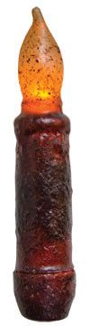 Burnt Burgundy Cinnamon Coated LED Mini Taper Candle Country Primitive Lighting Decor