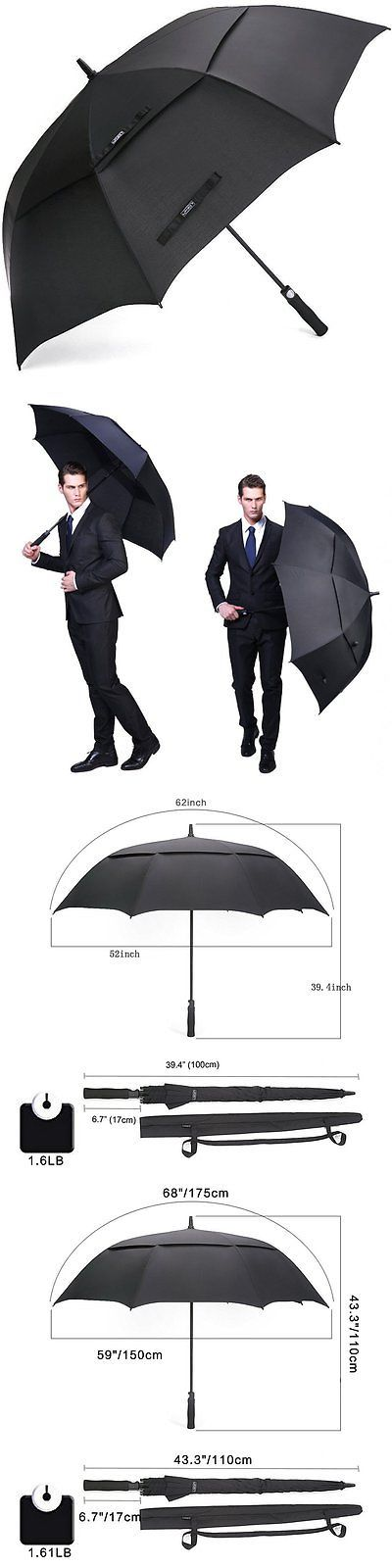 Golf Umbrellas 18933: G4free 62 Automatic Open Golf Umbrella Extra Large Heavy Duty Double Canopy Usa -> BUY IT NOW ONLY: $31.71 on eBay!