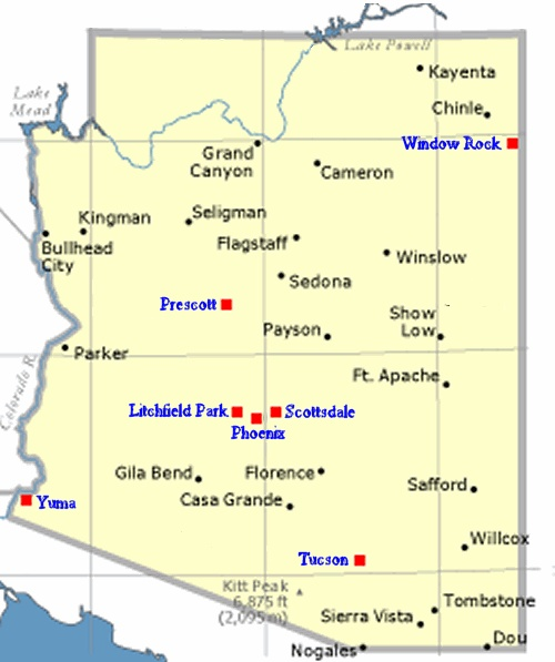 Cities in Arizona...some of the ones I've been to -Bullhead City, Flagstaff, Winslow, Scottsdale, Phoenix, Tucson, Sedona, Casa Grande, Avondale, Benson, Bowie, Centura West, Chandler, Ehrenberg, Eloy, Guadalupe, Phoenix, Sun Lakes, Tempe, Wilcox. Family Trip as children all 6 kids mom & dad & other family members