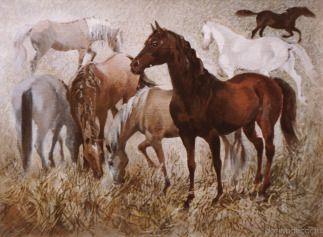 """Ирина Агалакова - """"Лошади"""", холст, масло."""