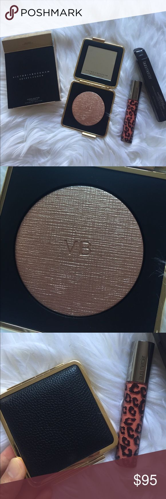 Estée Lauder Victoria Beckham highlighter Full size new. In perfect new condition. 01 modern mercury. $75. Free gift - Laura mercier acrylic lip varnish in soleil. $29. Sell only in bundle. No trades. Price firm. Estee Lauder Makeup Luminizer