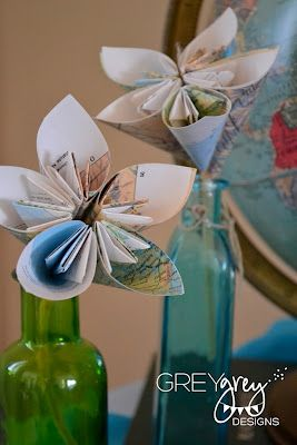 Map flowers for center pieves or maybe make a bouquet and boutinere for Anne and Ruben?? Party themes...!