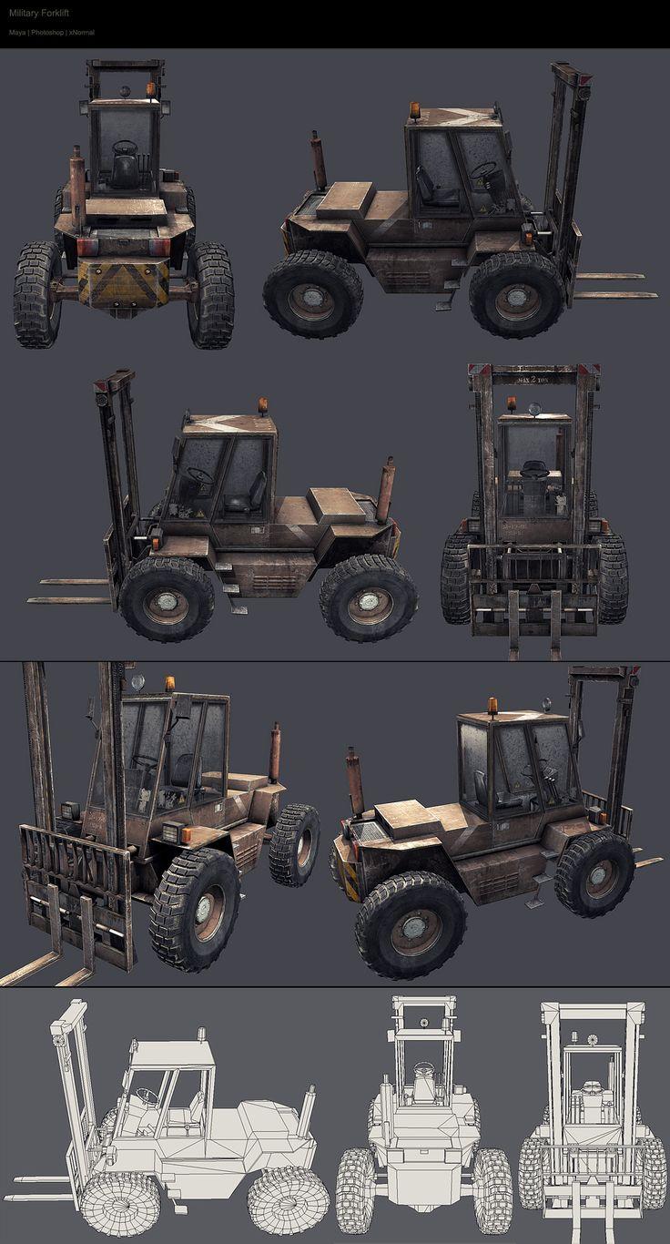 | tiancocker.com | military forklift - Maya, Photoshop, xNormal.