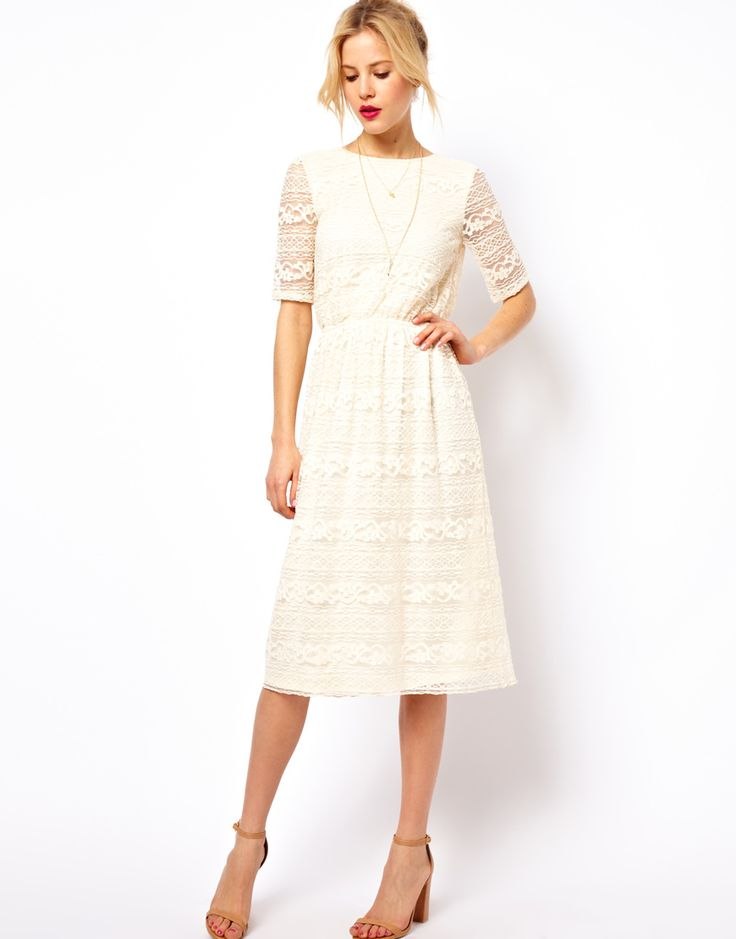 Asos red and cream lace dress