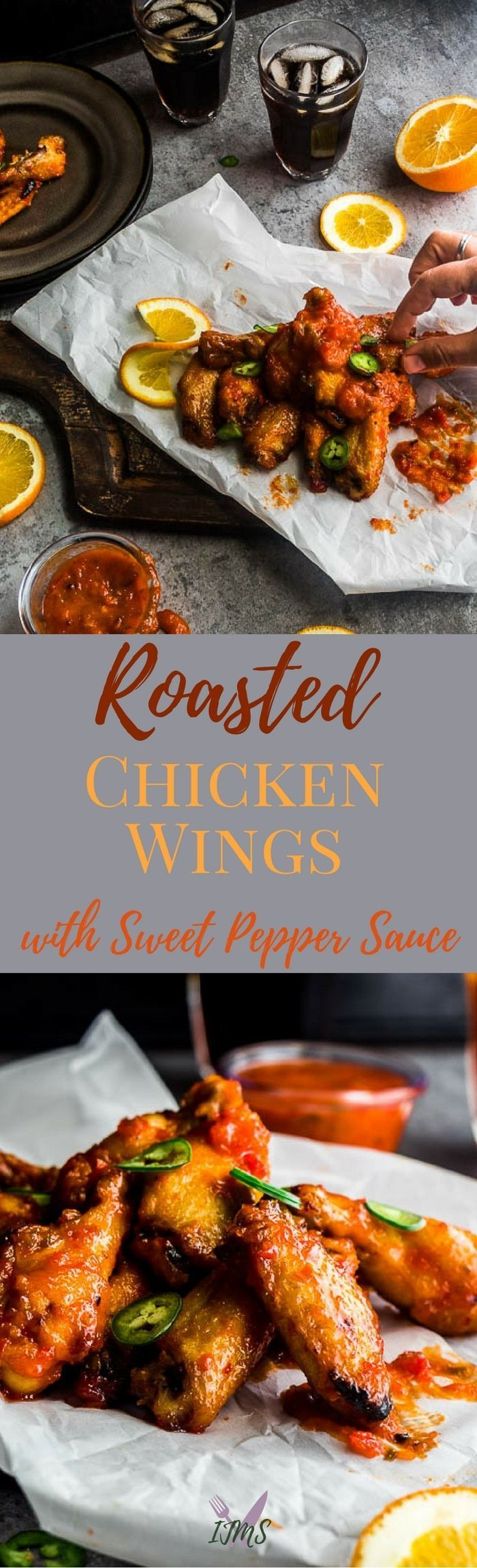Roasted Chicken Wings are a great appetizer for a small family gathering or party; especially tossed in a sweet pepper sauce. Gourmia's Rotisserie Oven helps cooking chicken wings a cinch with it's features. via @ijustmakesandwi