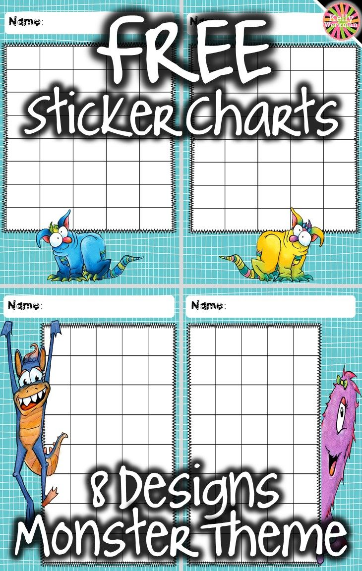 Adorable monster-themed sticker charts! Eight different designs contain a 5x8 grid for a total of 40 spaces on each chart. Perfect for small groups in speech therapy, special education, RTI, etc. Or, for behavior management in general preschool and elemen